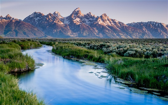 Wallpaper Wyoming, USA, Grand Teton National Park, mountains, river, grass