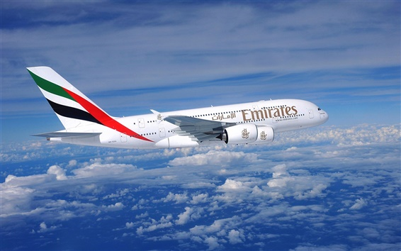Wallpaper A380 aircraft flying in the sky, clouds, blue