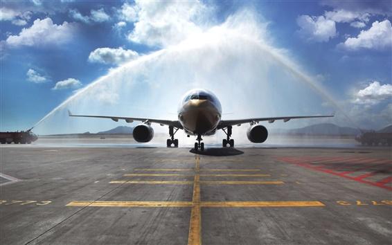 Wallpaper Airbus A330 passenger aircraft, watering, airport