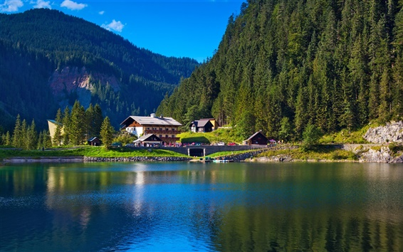Wallpaper Alps, mountains, trees, lake, house, nature greenery