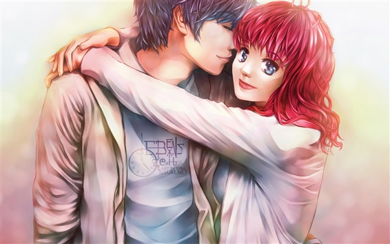 Wallpaper Anime boy and girl, lover