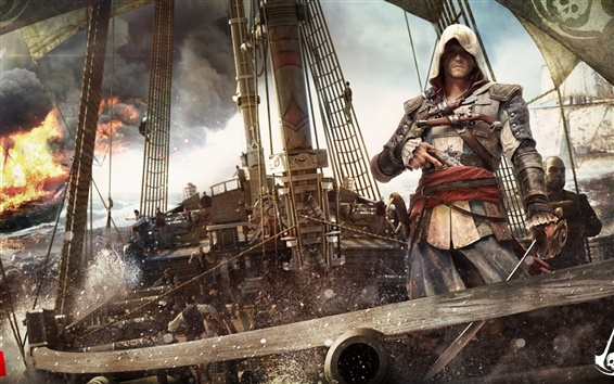Wallpaper Assassin's Creed 4: Black Flag, ship, ocean