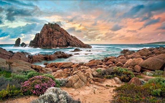 Fond d'écran Australie côte ouest, la plage, des pierres, coucher de soleil