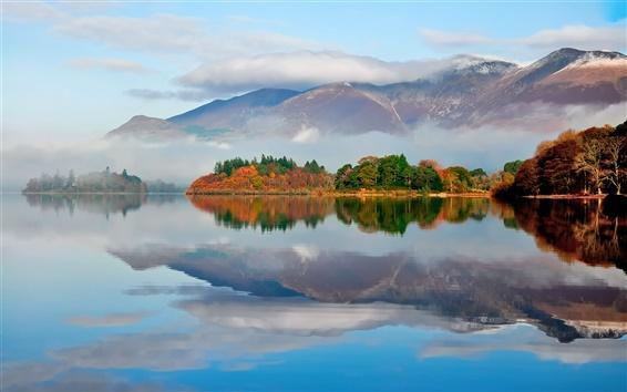 Обои Осеннее утро, туман, озеро, горы, лес, отражение воды