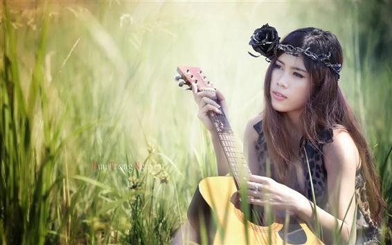 Wallpaper Beautiful asian girl, guitar, music, grass