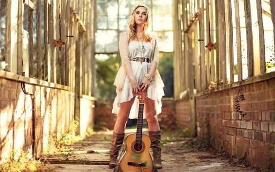Wallpaper Beautiful guitar girl, music, sunshine