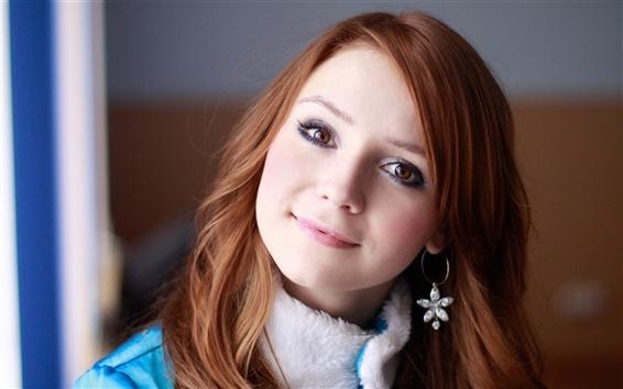 Fond d'écran De beaux cheveux rouge fille sourire