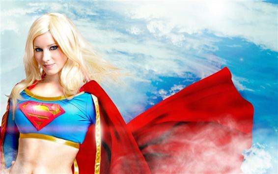 Wallpaper Beautiful superwoman, blonde girl