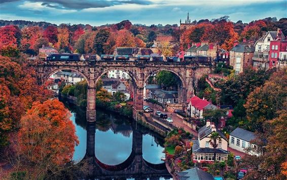 Fond d'écran Belle ville, pont, maison, arbres, automne, rivière, train