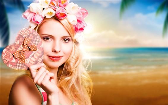 Wallpaper Blonde girl, tulips garland, heart, beach