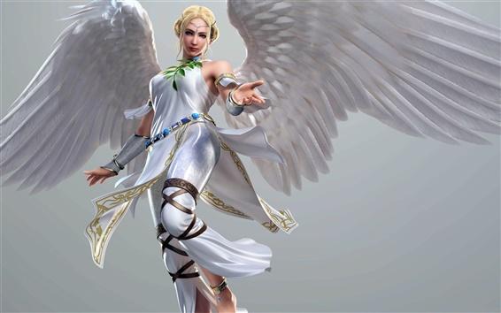 壁紙 ブロンドの女の子、白い天使の少女、翼