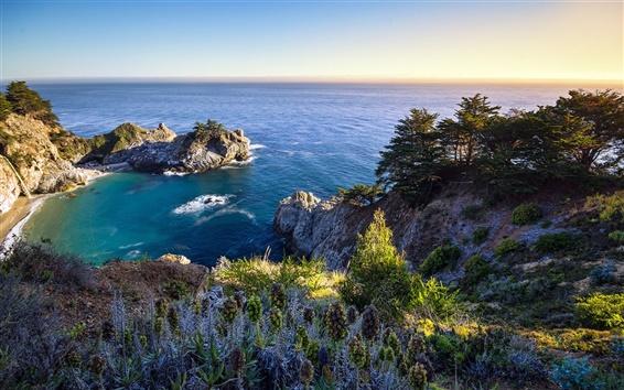Wallpaper California, US, bay, ocean, nature, rocks