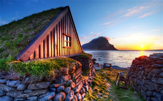 Fondos de pantalla Costa, casa, puesta de sol, montaña, piedras