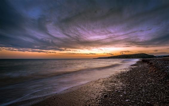 Wallpaper Cyprus, sunset, ocean, beach, sunset