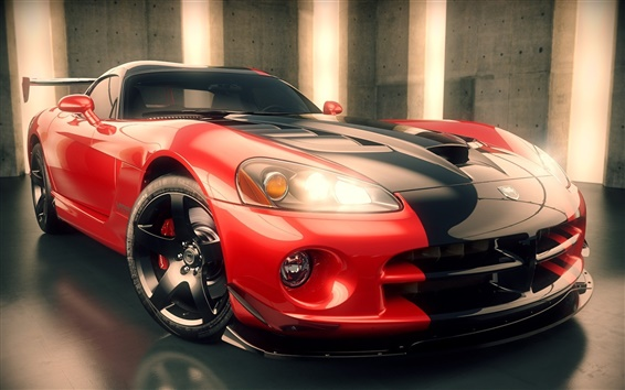 Wallpaper Dodge Viper, 3D rendering supercar