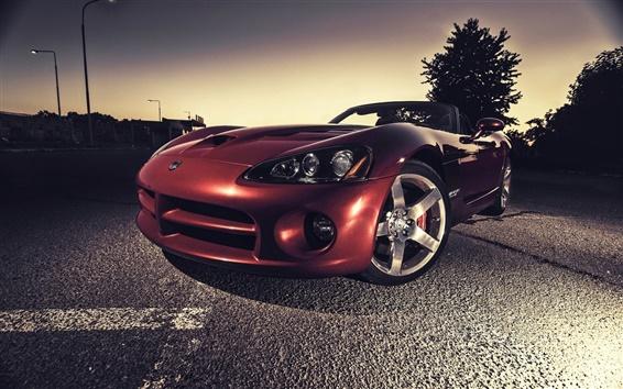 Fond d'écran Dodge Viper rouge supercar dans la nuit