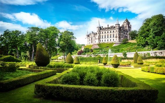 Wallpaper Dunrobin Castle, Scotland, Great Britain, park, sun, sky, clouds, green, grass