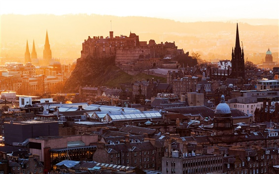 Wallpaper Edinburgh Castle, Scotland, United Kingdom, city, houses, buildings, dawn