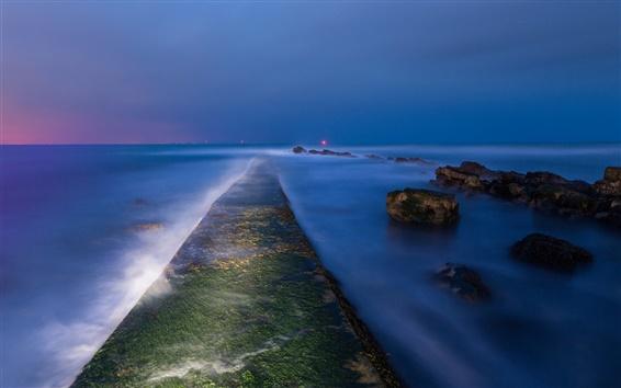 Fond d'écran Angleterre, crépuscule, baie, mer, pierres, mousse