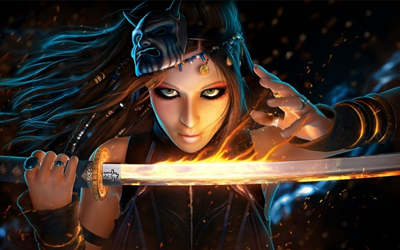 Wallpaper Fantasy girl use flame sword