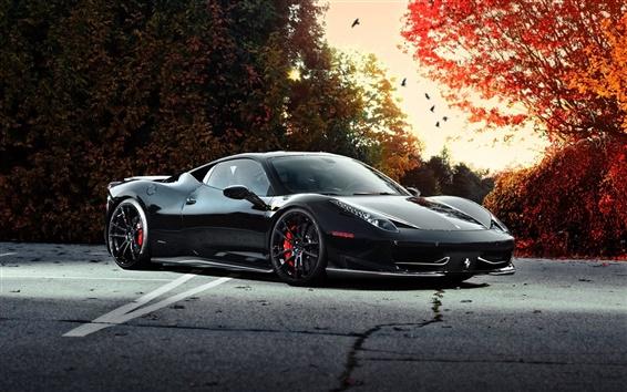 Обои Ferrari 458 Italia черный автомобиль на осень