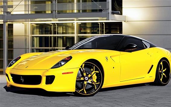 Wallpaper Ferrari 599 yellow supercar
