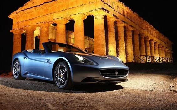 Fondos de pantalla Ferrari California coche azul, noche, ruinas