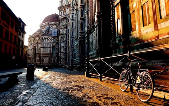 Wallpaper Florence, Toscana, Italy city street, house, bike, sunrise