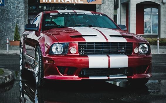 Обои Ford Mustang Saleen автомобиль, красный и белый, дождь