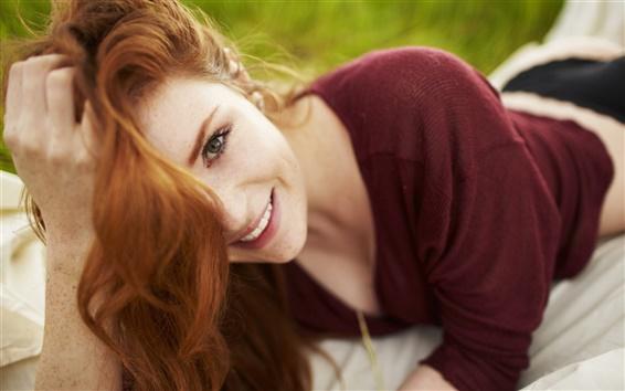 Wallpaper Freckled red hair girl smile