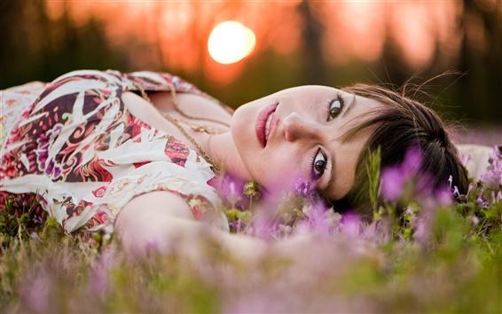 Wallpaper Girl lying grass
