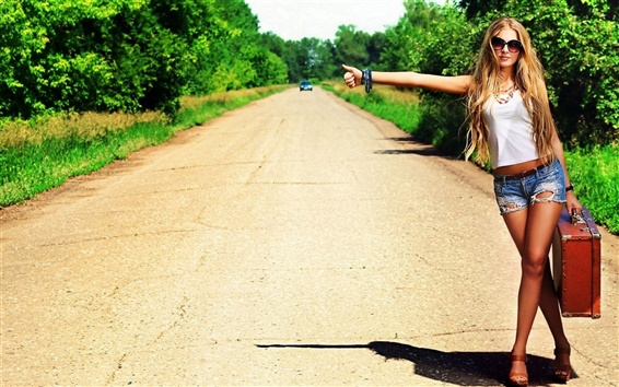 Wallpaper Girl want to hitchhiking