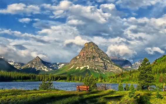 Wallpaper Glacier National Park, lake, mountains, clouds