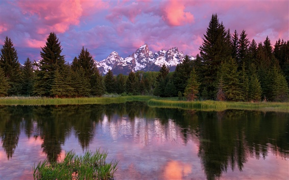 Wallpaper Grand Teton National Park, mountains, lake, trees, forest, water reflection