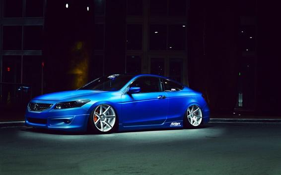 Wallpaper Honda Accord, blue car, night