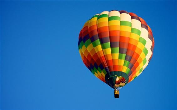 배경 화면 뜨거운 공기 풍선, 푸른 하늘, 스포츠,