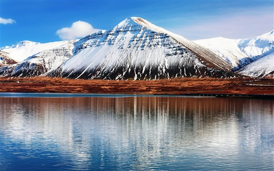 Wallpaper Iceland Hafnarfjall, snowy mountains, water reflection
