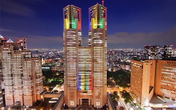 Обои Япония, Токио, мегаполис, небоскребы, ночь, огни города