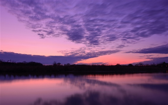 Wallpaper Lake water surface, trees, evening sunset, purple sky, clouds