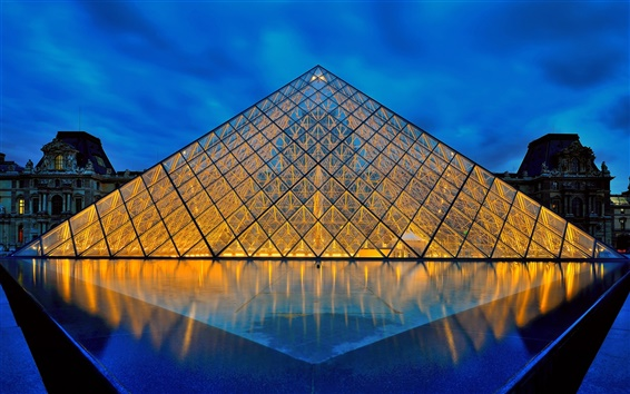 壁紙 ルーヴル美術館、パリ、フランス、ガラスのピラミッド、ライト