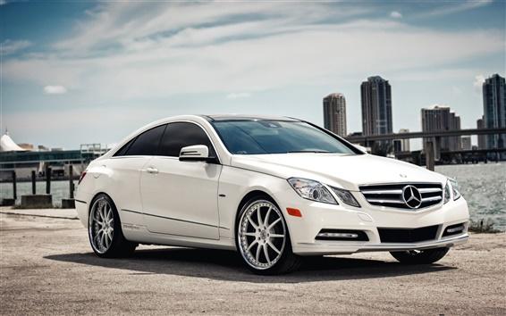 Wallpaper Mercedes-Benz E Class white Coupe