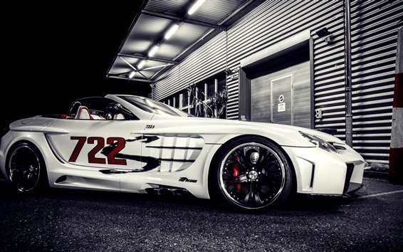 Wallpaper Mercedes-Benz SLR supercar at night