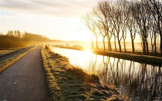 Fond d'écran Nature paysage, route, lever du soleil, les arbres, l'herbe, la rivière