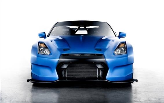 Fondos de pantalla Nissan GT-R de carreras azul