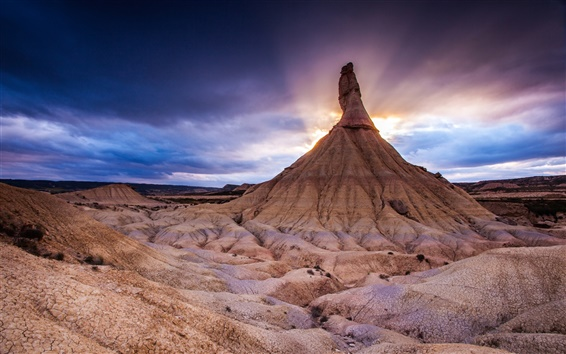 Wallpaper Northern Spain, The Bardenas Reales National Park, mountain, sunset