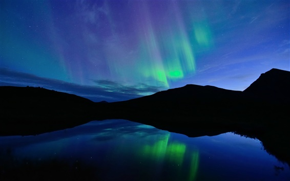 Wallpaper Norway, night, Northern lights, blue, lake, water reflection