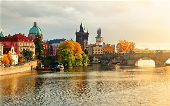 Wallpaper Prague, Charles Bridge, the river Vltava, water, boats, houses, autumn