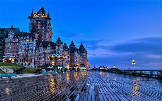 배경 화면 퀘벡, 캐나다, 샤토 프 롱트 나크 성, 벤치, 저녁
