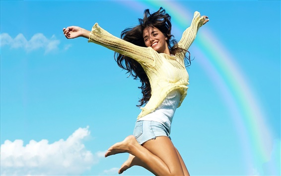 Wallpaper Summer girl beautiful jumping