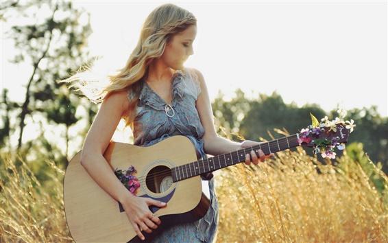 Fond d'écran Summer, musique, fille de guitare